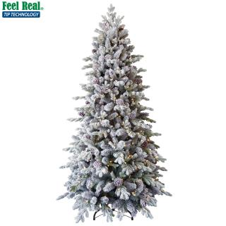 Our PE/PVC mix 8ft Pre-lit Snowy Dorchester Pine has a stunning mix of flocked branches & cones & comes with a pre-lit tree topper. FREE Gift included when you buy online.