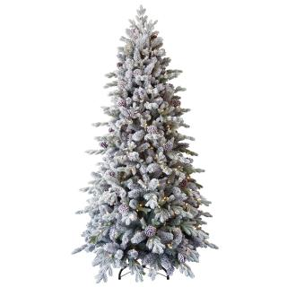 8ft Pre-lit Snowy Dorchester Pine Feel-Real Artificial Christmas Tree