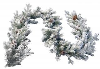 9ft Snowy Dorchester Pine Feel-Real Artificial Christmas Garland