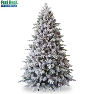 Our PE/PVC mix 7.5ft Snowy Dorchester Pine has beautiful snowy branches & cones. FREE Gift included when you buy online.