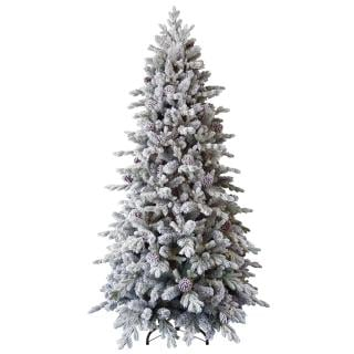 Our PE/PVC mix 8ft Snowy Dorchester Pine has white flocked branches & cones. FREE Gift included when you buy online.