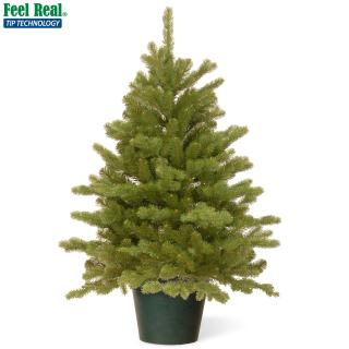 This Feel-Real PE/PVC mix artificial Christmas tree is our fullest 3ft tree & comes ready potted for display.