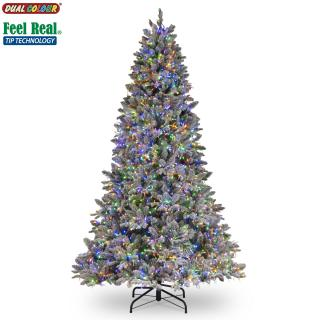 6.5ft Dual Cosmic Light Iceland Fir Feel-Real Artificial Christmas Tree Multi