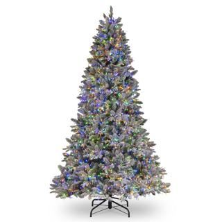 7.5ft Dual Cosmic Light Iceland Fir Feel-Real Artificial Christmas Tree