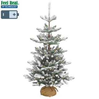 This mid-height snowy Feel-Real PE/PVC mix artificial Christmas tree comes with battery operated LED lights & a hessian base for display.