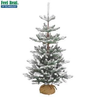 This snowy Feel-Real PE/PVC mix artificial Christmas tree comes with a burlap base for display.