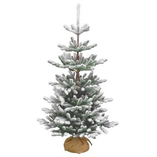 4ft Snowy Imperial Blue Spruce Burlap Feel-Real Artificial Christmas Tree