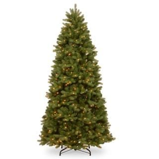 7ft Pre-lit Newberry Spruce Slim Feel-Real Artificial Christmas Tree