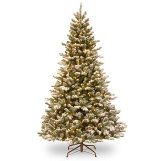 7ft Dual Light Snowy Sheffield Spruce Feel-Real Artificial Christmas Tree