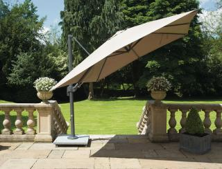 LIFE Outdoor Living 2.5m Square Palermo Cantilever Parasol, 90kg Base & Co