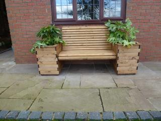 Redwood Planter Bench