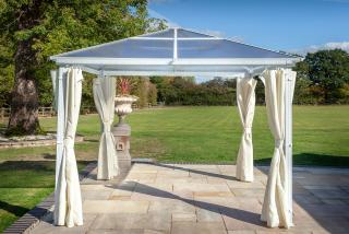 Hartman Polycarbonate Gazebo 3m x 3m in White - Curtains open