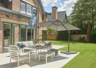 Norfolk Leisure 2.5m Square Royce Junior Cantilever Parasol & 80kg Base Offer in Taupe