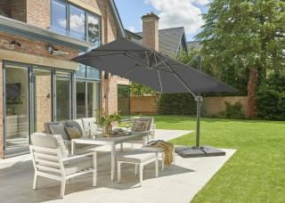 Norfolk Leisure 3m Square Royce Executive Cantilever Parasol & 100kg Base Offer in Carbon