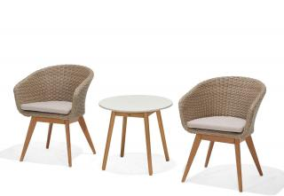 This is a maintenance free bistro set combining Martinique dining chairs with a round Montreux Coral reef side table.