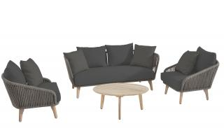 This comfortable set has an aluminium frame with an anthracite finish & mid grey rope detailing.
