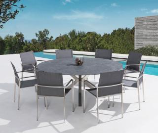 A high quality round stainless steel set for eight with a ceramic table top in a choice of colours.