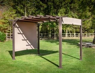This versatile pergola comes with a bronze finish & a caramel canopy that will slide.