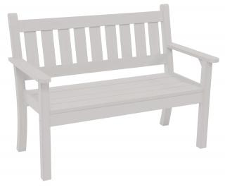 A maintenance free 1.56m bench made from heavy duty resin in white.