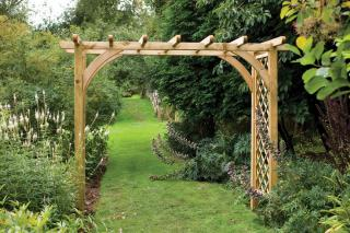 The Forest Ultima Pergola Arch is a sturdy and stylish arch with an intigrated trellis.