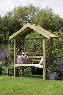 A perfectly formed arbour incorporating rebated lattice in the back and sides.
