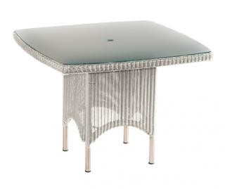 Westminster Code PVLT130 + glass. A square table with a toughened glass top with parasol hole.