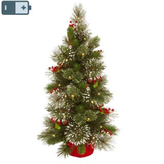 This 3ft Wintry Pine pre-lit Christmas tree is decorated with cones, red berries & snow & will light up any corner.