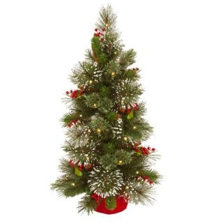 3ft Pre-lit Battery Operated Wintry Pine Artificial Christmas Tree