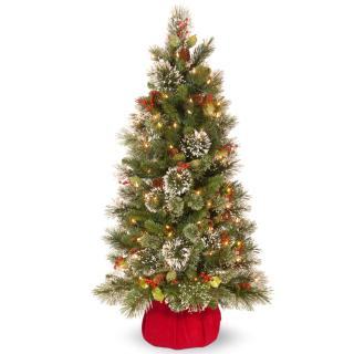 4ft Pre-lit Battery Operated Wintry Pine Artificial Christmas Tree