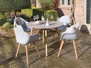 Norfolk Leisure Zari 4 Seat Round Set in Light Grey
