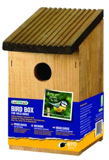 This wooden bird box has a 32mm diameter entrance hole which is suitable for species including sparrows, great tits and nuthatches.