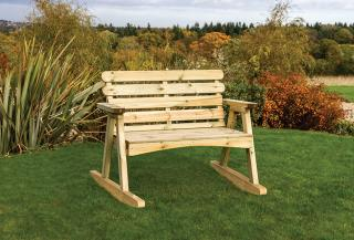 Designed for both support and style, the Lily Rocking Bench would be ideal for a terrace area.
