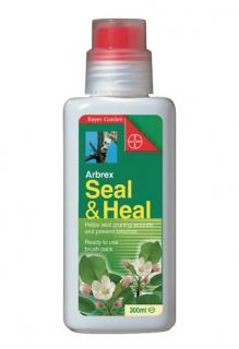 Bayer Arbrex Seal & Heal 300g. Pruning paint with easy to use brush applicator. Seals and heals pruning cuts on all types of trees. Contains natural resin.