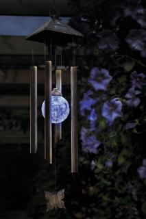 Combining light and sound perfectly, this solar powered colour changing wind chime is a joy.