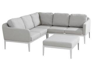 This modular set has an aluminium frame with a frost grey finish & grey Sunbrella upholstery & cushions.