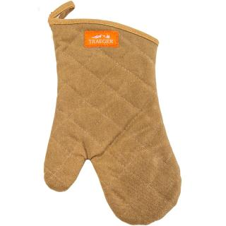 A quilted cotton BBQ mitt in brown with a non-slip grip.
