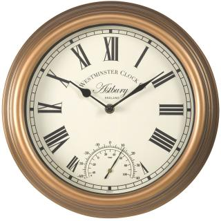 This contemporary wall clock with thermometer is easy to read & fully weather resistant for in or outdoor use.