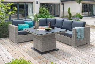 LIFE Outdoor Living Aya Round Corner Set in Yacht Grey - table raised