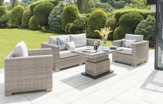 LIFE Outdoor Living Aya Sofa Set in Mouse Grey - table raised