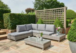 This Bahama Lounge Set comes in textured grey resin weave & features an adjustable chaise.