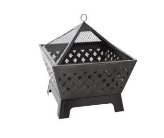 An attractive heavy duty, square firepit with FREE poker & all weather cover.