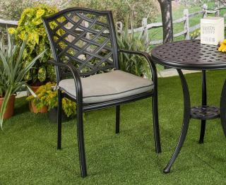 A cast aluminium chair which is ideal for a small space, it comes finished in black with an grey seat pad.