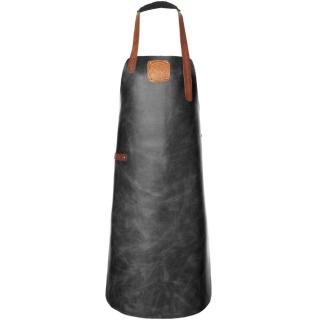 This black handcrafted leather apron has timming in cognac & would make a great gift.