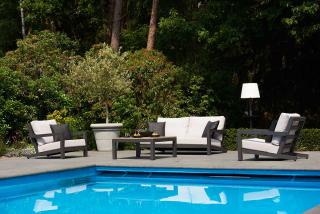 This contemporary set is made from powder coated aluminium in Lava with all weather cushions in Khaki.