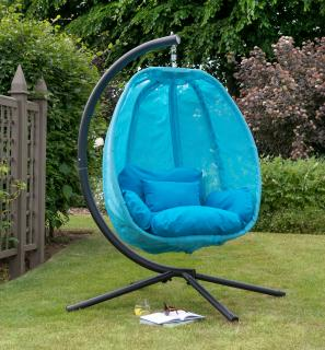 This attractive cocoon chair comes in a choice of colours with matching cushions & is not only comfortable but folds away for easy storage when the weather gets colder.