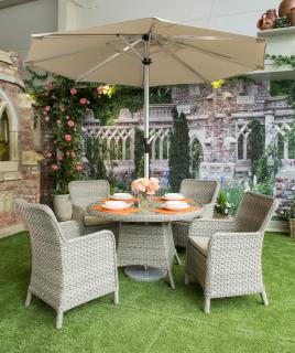 The classic Geneva Four Seater Set is ideal for the garden or patio. This Set is fantastic value for money and can be left outside all year round.