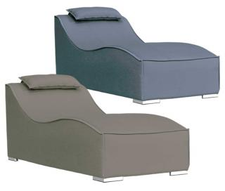 Westminster Code BRE201. Elegant aluminium sun lounger with weatherproof, padded upholstery in taupe.