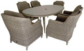 4 Seasons Outdoor Brighton 6 Seat Oval Dining Set in Pure