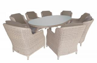 A 2.7m oval Hularo Weave dining set with padded all weather cushions.
