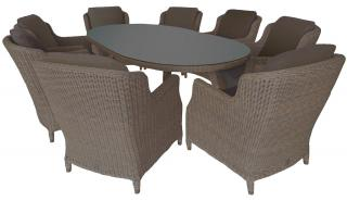 4 Seasons Outdoor Brighton 8 Seat Oval Dining Set in Pure